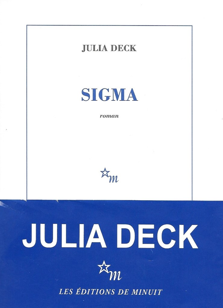 Julia Deck, Sigma, 2017, couverture
