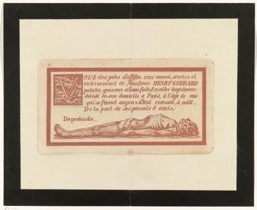 Lettre de faire-part du futur décès, gravure de Henri Charles Guérard