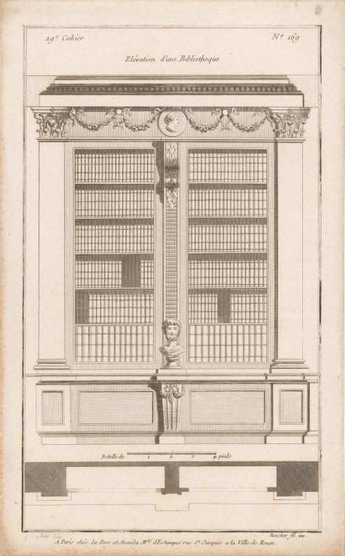 «Elévation d'une Bibliotheque», gravure de Jean Pelletier, 1772-1779