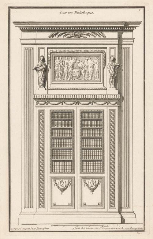Jean François de Neufforge, «Pour une bibliotheque», gravure, Paris, 1763