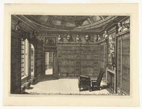 Bibliothèque, gravure de Daniël Marot, Amsterdam, 1712