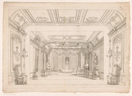 Décor de scène avec intérieur de bibliothèque, gravure anonyme, deuxième moitié du XVIIIe siècle