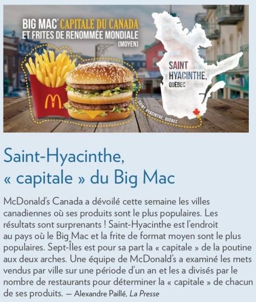 "«Saint-Hyacinthe, ""capitale du Big Mac""», la Presse+, 14 août 2016"