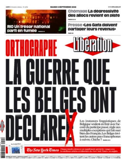Première page de Libération, 4 septembre 2018