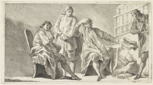 «Quatre hommes dans une salle d'étude», gravure de Giovanni Cattini (1735-1800)