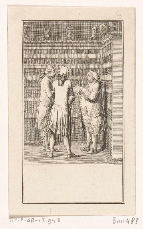 Trois hommes dans une bibliothèque, gravure de Daniel Nikolaus Chodowiecki, Berlin, 1778