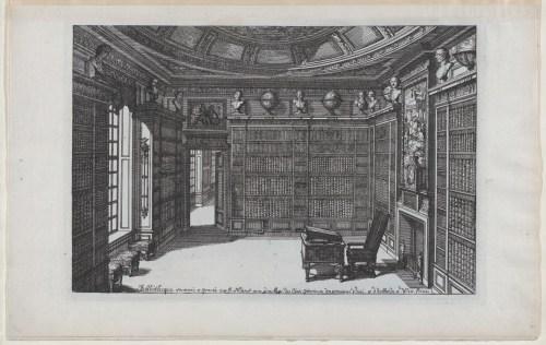 Intérieur d'une bibliothèque, gravure de Daniel Marot, début du XVIIIe siècle