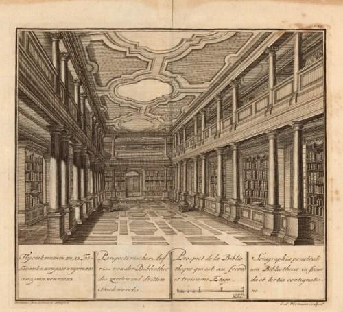 Intérieur d'une bibliothèque, gravure, 1744
