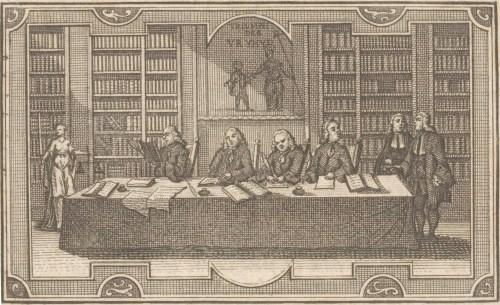 Quatre avocats dans une bibliothèque, gravure anonyme, Amsterdam, 1766