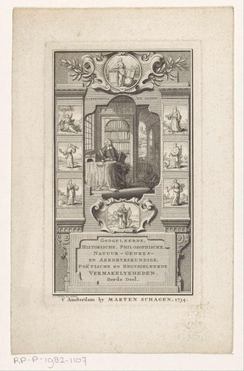 Érudit dans sa bibliothèque, gravure de Jan Caspar Philips, 1734
