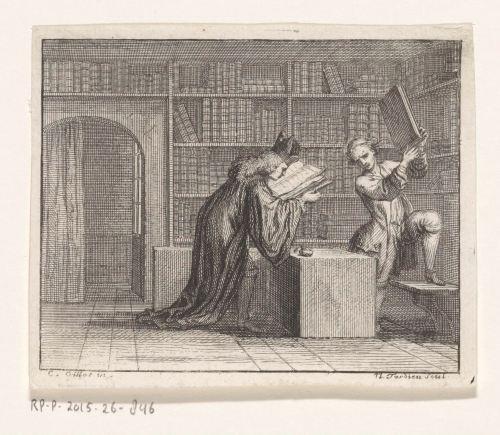 Prêtre chez un libraire. Les deux livres, gravure de Nicolas Henri Tardieu, d'après Claude Gillot, Paris, 1719