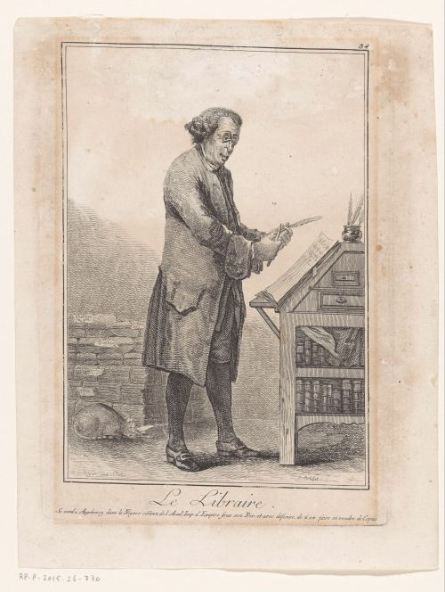 «Le libraire», gravure de Robert Brichet, Augsbourg, 1784