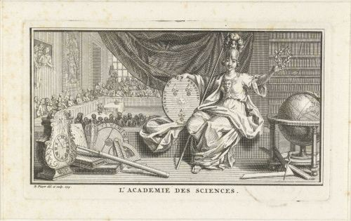 «L'Académie des scieces», gravure de Bernard Picart, Amsterdam, 1729