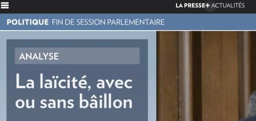 Le mot «bâillon» en titre dans la Presse+ du 22 mai 2019
