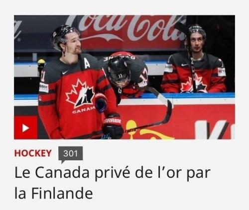 Le Canada privé de l'or par la Finlande, titre de presse, 26 mai 2019