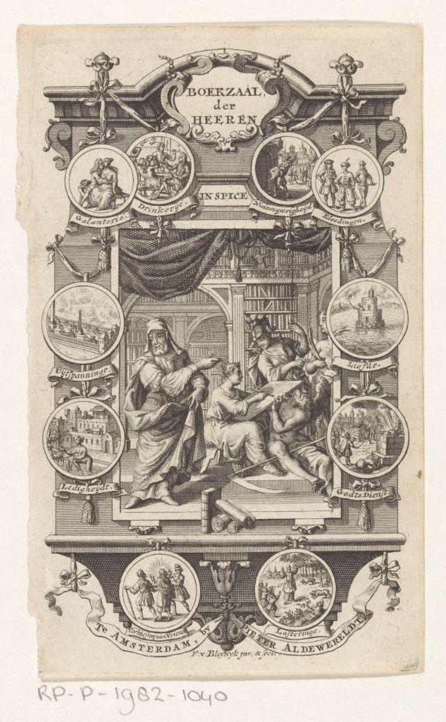 Intérieur d'une bibliothèque, gravure de François van Bleyswijck, Amsterdam, 1737