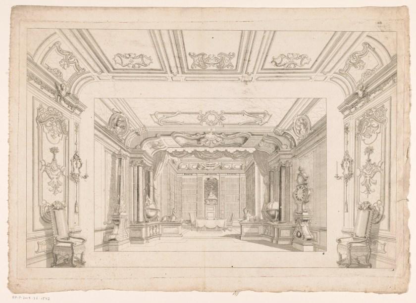Ddécor commun avec un intérieur de bibliothèque, gravure anonyme, deuxième moitié du XVIIIe siècle