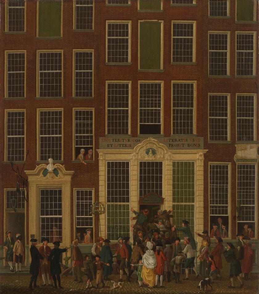 «La librairie et l'agence de jeu de Jan de Groot dans la Kalverstraat d'Amsterdam», peinture d'Isaac Ouwater, 1779