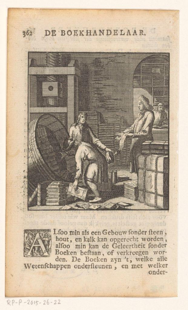 «Le libraire», gravure de Jan Luyken et Caspar Luyken, Amsterdam, 1736