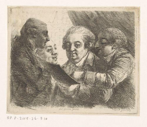 Portrait de quatre frères de la famille Terres, libraires à Naples, gravure de Vivant Denon, 1785