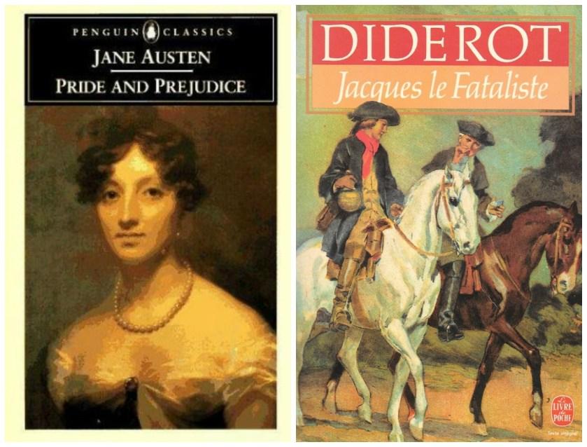Jane Austen et Denis Diderot, couvertures