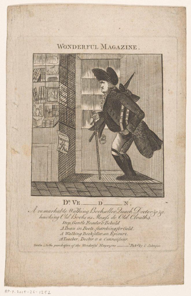 Portrait de Théodore de Verdion devant la fenêtre d'une librairie, gravure anonyme, Wonderful Magazine, c. 1790-c. 1795