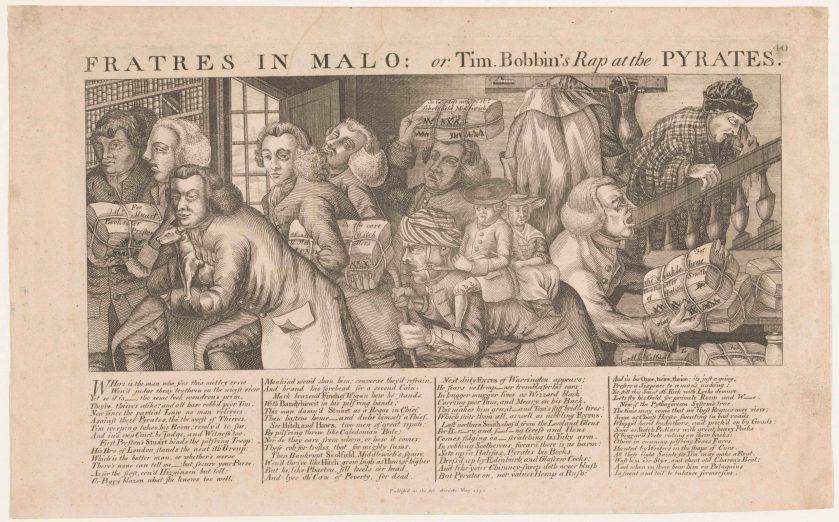 «Fratres in Malo : or Tim. Bobbin's Rap at the Pyrates», gravure de Thomas Sander, mai 1773