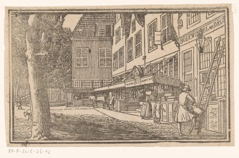 Rue avec librairie, gravure de Cornelis van Noorde, 1761