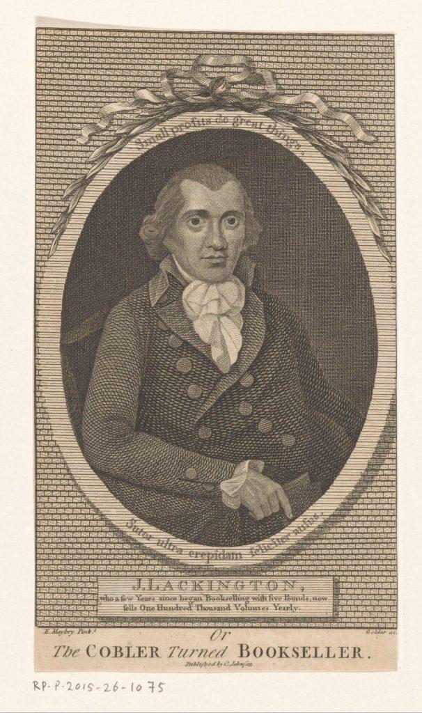 Portrait du libraire James Lackington, gravure de John Goldar