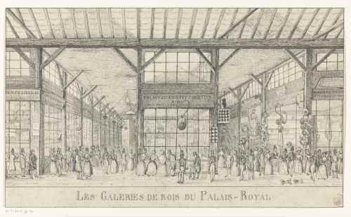 Les galeries de bois du Palais-Royal, gravure anonyme, XIXe siècle