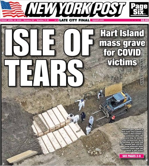 New York Post, une du 10 avril 2020