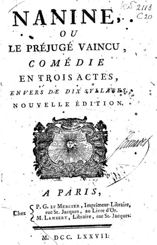 Voltaire, Nanine, édition de 1772, page de titre