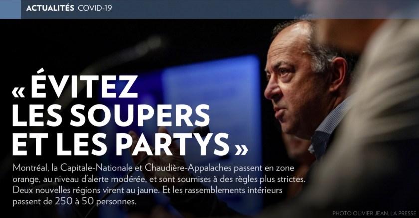 «Évitez les soupers et les partys» (Christian Dubé, la Presse+, 21 septembre 2020)