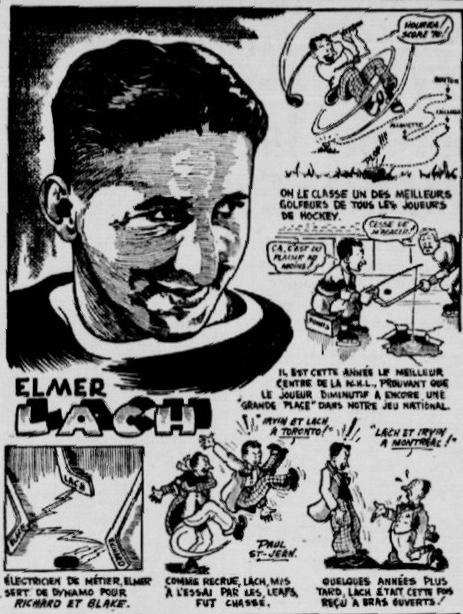 Caricature d'Elmer Lach par Paul St-Jean, la Patrie, 4 février 1945, p. 75