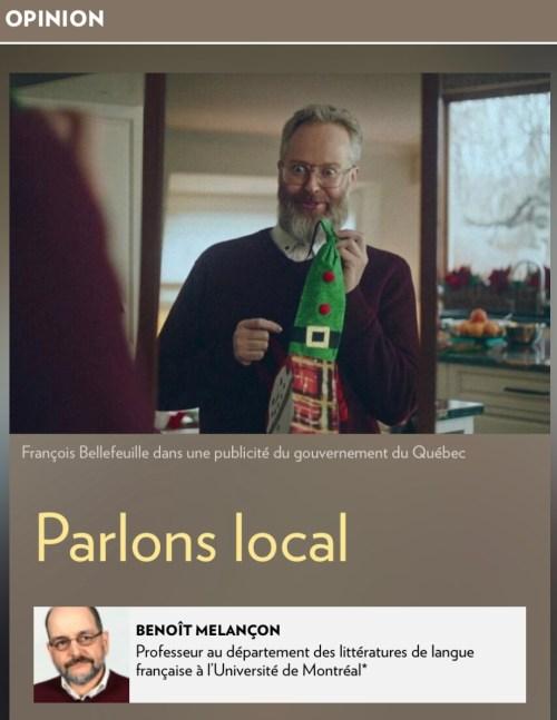Benoît Melançon, «Parlons local», la Presse+, 7 janvier 2021, illustration