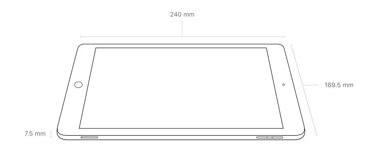 New iPadのサイズと重量についての参照画像