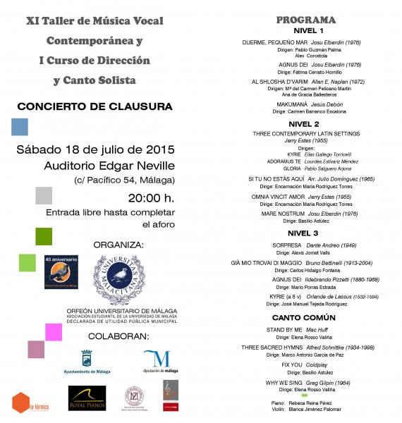 XI Taller de Música Vocal Contemporánea y I Curso de Dirección Coral y Canto Solista. Programa del Concierto de Clausura