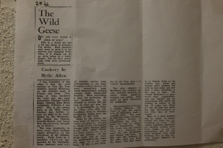 An article on Wild Geese, the Irish Diaspora who set up vineyards