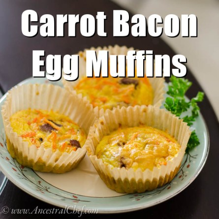 Paleo carrot bacon egg muffins