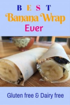This is an easy gluten-free and dairy-free snack for kids (and not only!) that is not only healthy, but delicious too. My 7 year old son makes this banana wrap for himself and his sister very often. So yummy!
