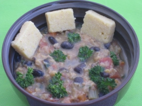 Lentils beans and spinach stew