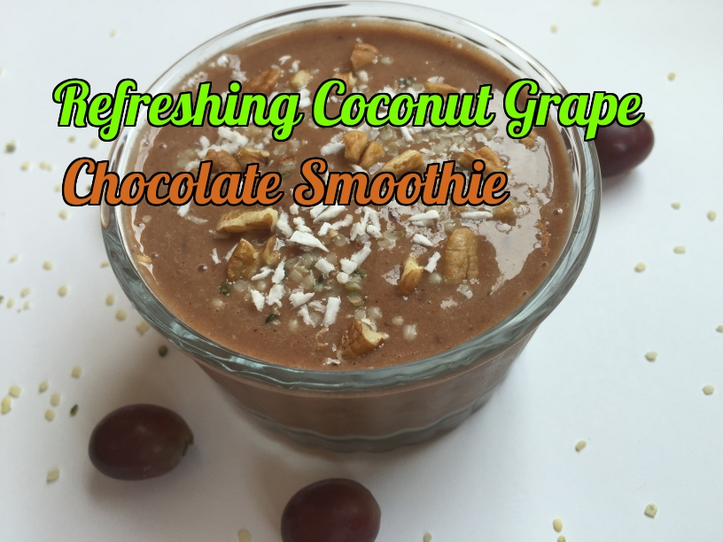 Refreshing coconut grape chocolate smoothie - great for breakfast and as a snack.