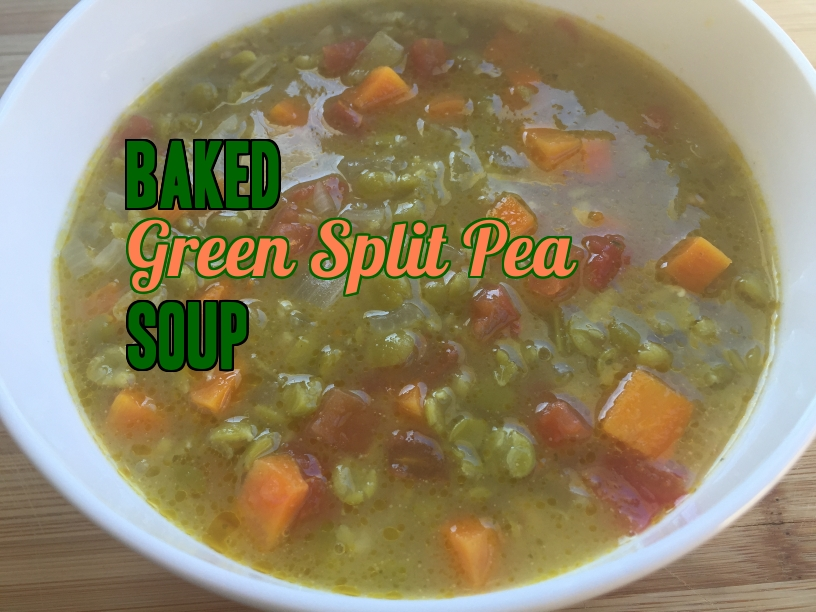Baked green split pea soup. Yummy!