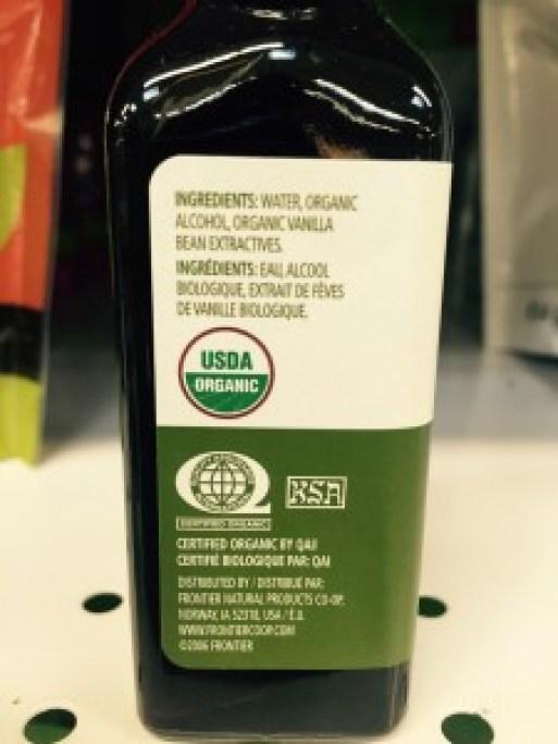 Organic vanilla extract label
