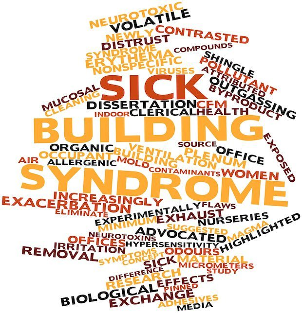 Abstract word cloud for Sick building syndrome with related tags and terms