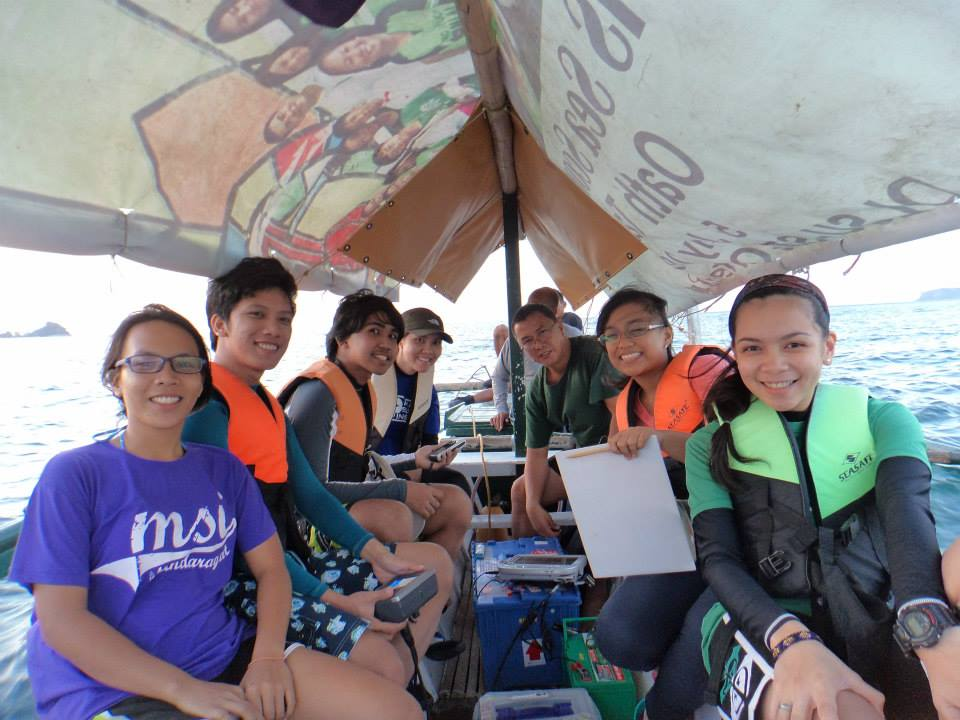 Fieldwork to measure physical properties—salinity, temperature, and depth of Talim Bay waters