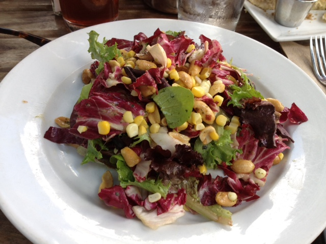 salad with corn, peanuts and thai dressing