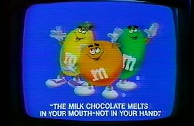 "This image shows a vintage ad for M&Ms candy, with the Unique Selling Proposition clearly identified, which is ""The milk chocolate melts in your mouth, not in your hand""."