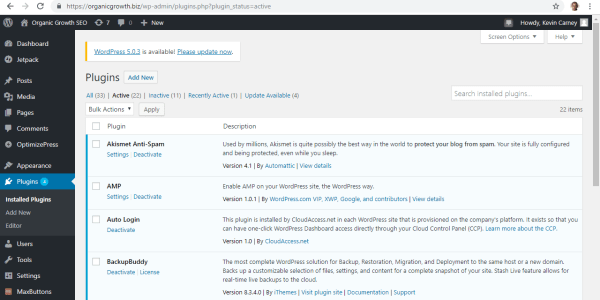 Screen shot of Plugins within a WordPress Dashboard
