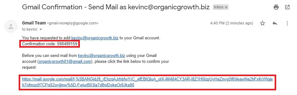 find confirmation code email